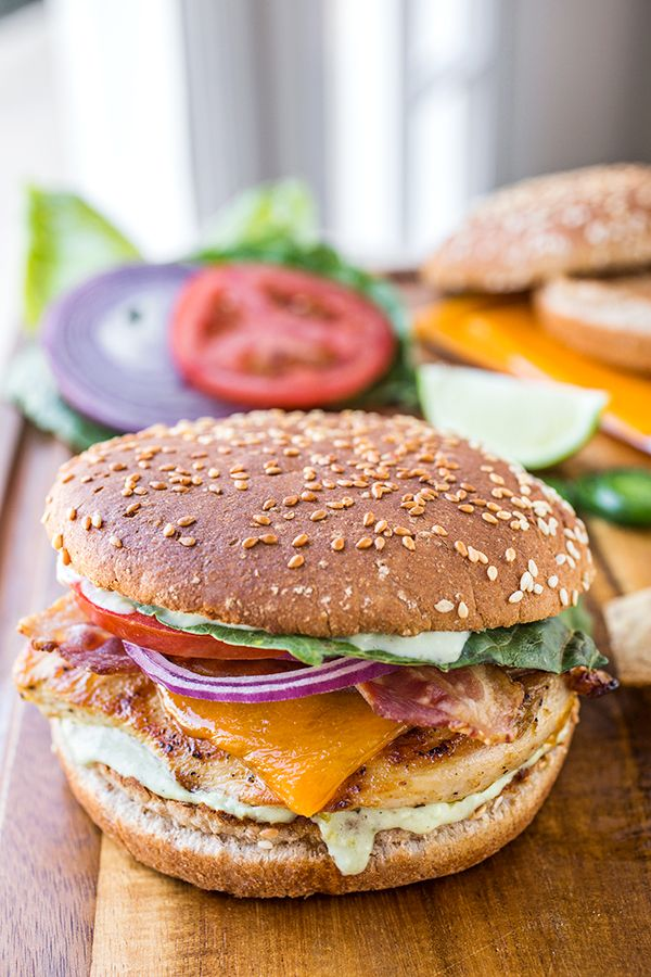 Tequila-Lime Chicken Burgers with Bacon and Cheddar, and Creamy Jalapeño-Ranch Sauce