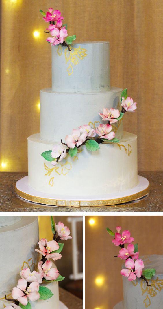 All Swiss Meringue Ercream Wedding Cake Painted With Gold Cherry Blossom Back Ground And Our Custom Sugar Flowers Weddingcake
