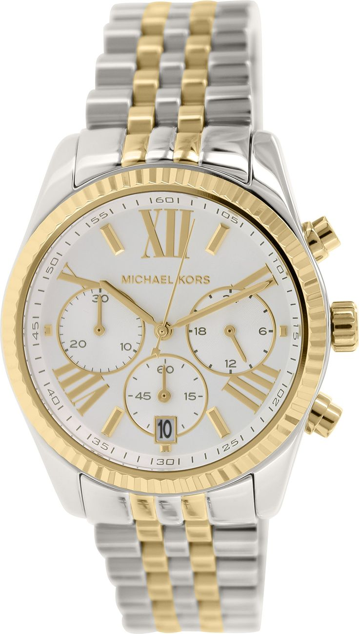 Michael Kors Lexington Chronograph Mother Of Pearl Two-Tone Ladies Watch
