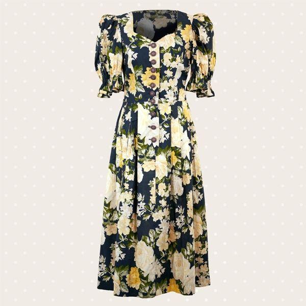 Raffinato abito vintage a fiori anni '70, con decorazione floreale e maniche a sbuffo corte