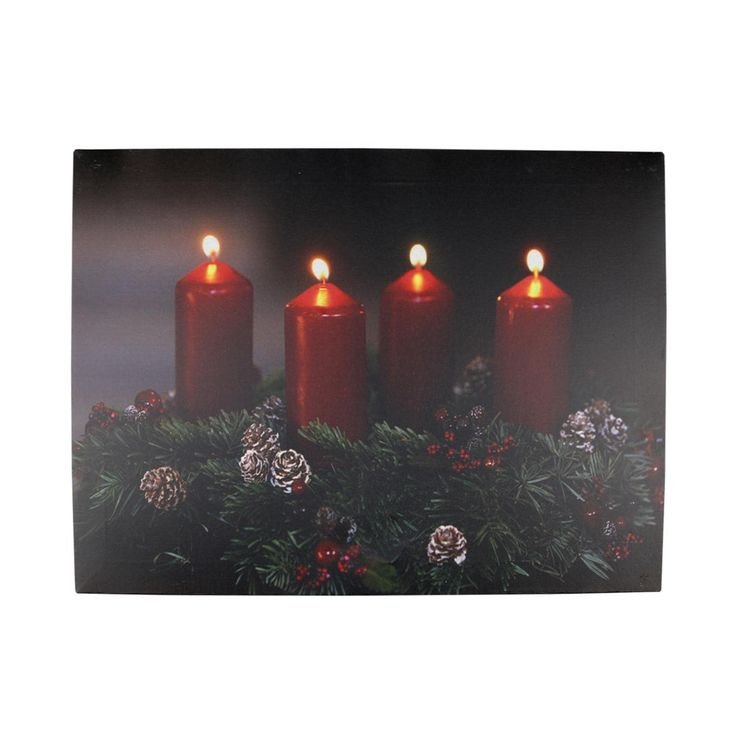 "LED Lighted Flickering Candle Wreath Christmas Canvas Wall Art 12"" x 15.75"", Red"