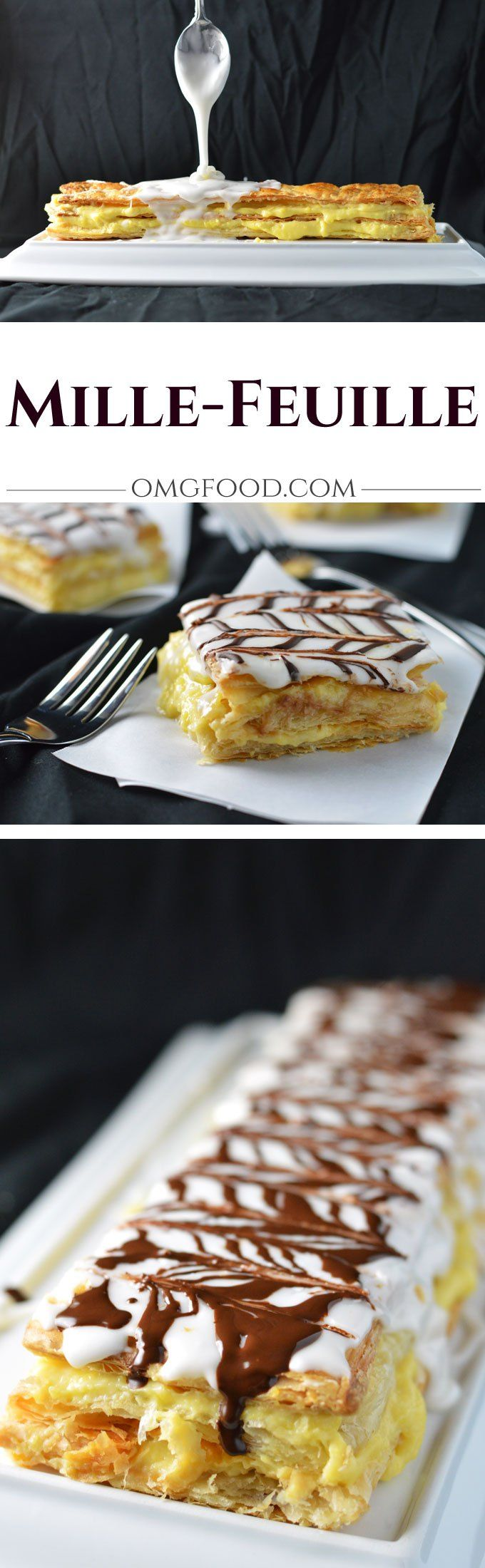 Mille-Feuille (Napoleon) - Flaky puff pastry with cream filling, topped with icing, and drizzled with dark chocolate.   omgfood.com