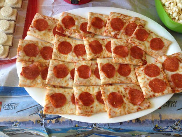 Lego pizza is delicious and super easy to make. | How To Throw The Ultimate LEGO Birthday Party