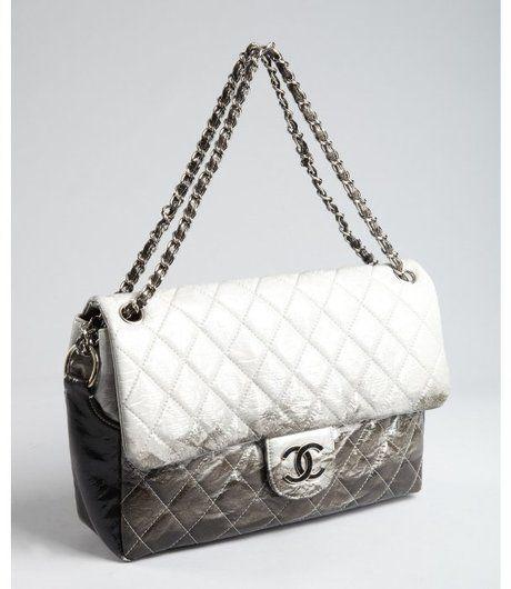 Chanel Grey Matelasse Patent Leather Chain Strap Vintage Shoulder Bag in Gray (grey) $4,005