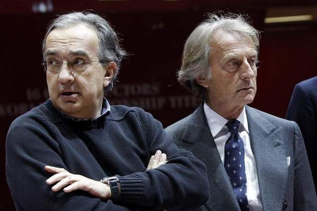 In this March 5, 2013 file photo, Ferrari President Luca di Montezemolo, right, and Fiat and Chrysler CEO Sergio Marchionne, at the 83rd Geneva International Motor Show.