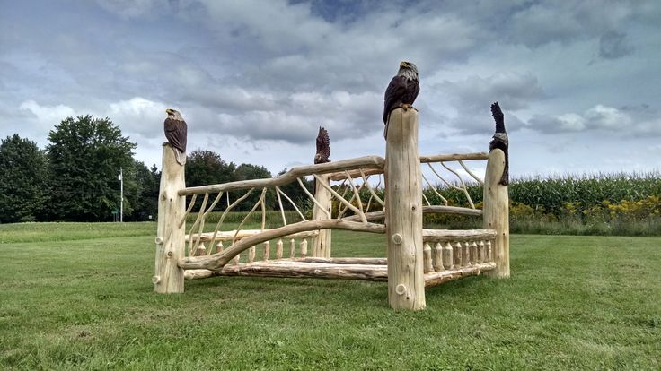 King size cedar bed with sculpted posts. Bald Eagles
