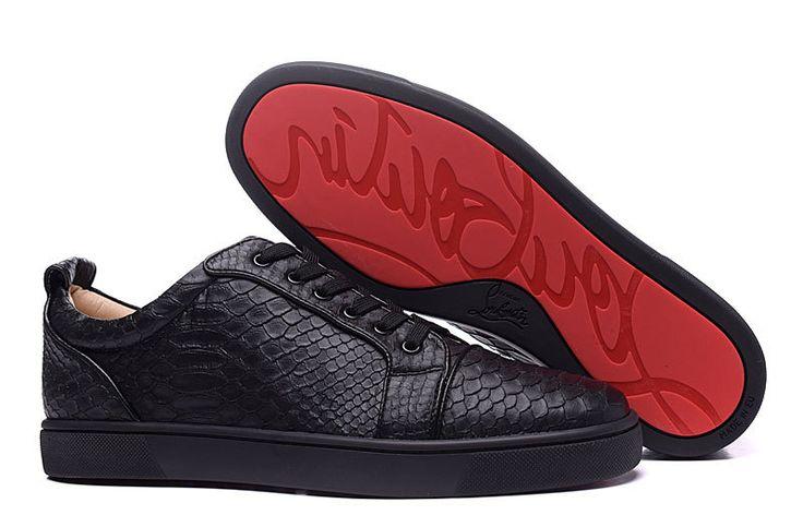 Christian Louboutin Rantulow Mens Flat Python Leather Low Top Sneakers Black