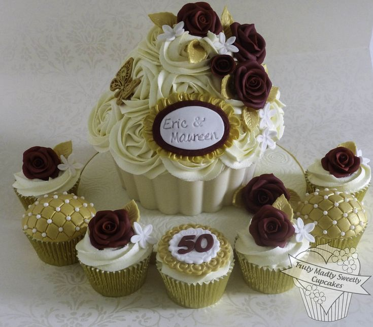 Golden Wedding Anniversary Giant Cupcake