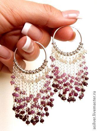 """Купить Серьги """"Ruby Shine"""" - бордовый, рубиновые серьги, серьги из рубина, рубин, серьги-кольца"""