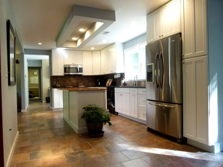 Kitchen Earth Tones In Tile Floor Tie Into Island Top