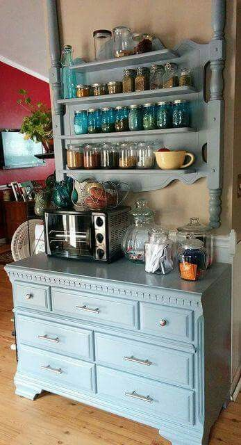 Re-Purpose a bedroom set into storage in the kitchen