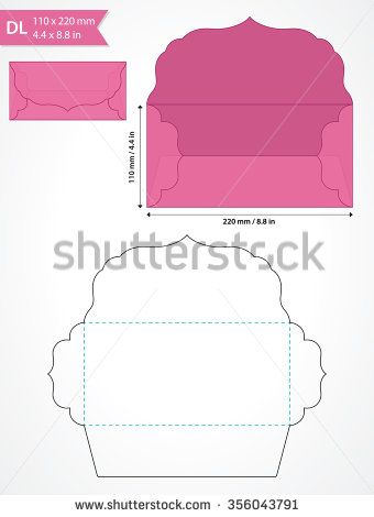 Die cut vector envelope template with swirly flap.  - stock vector