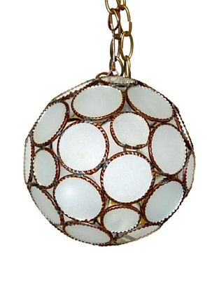 78% OFF Badia Design Round Ball Hanging Shade, Brass/White Glass
