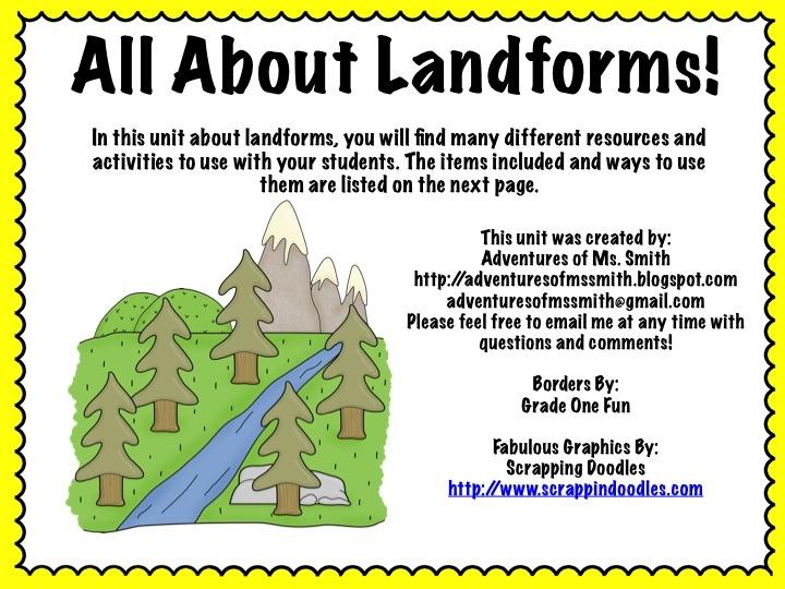 Landforms Mini Unit Landforms Included Mountain Canyon