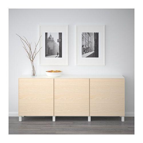 BESTÅ Storage combination with doors - white/Inviken ash veneer - IKEA
