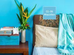 Aplicar el color turquesa en la habitación es ideal para mantener nuestro estado de ánimo siempre arriba. Pregúntanos por #Vinimex, nuestra pintura vinil-acrílica que te ofrecemos en 1400 colores.    #ProductosComex #DIY #Room #Deco #Comex #Bedroom