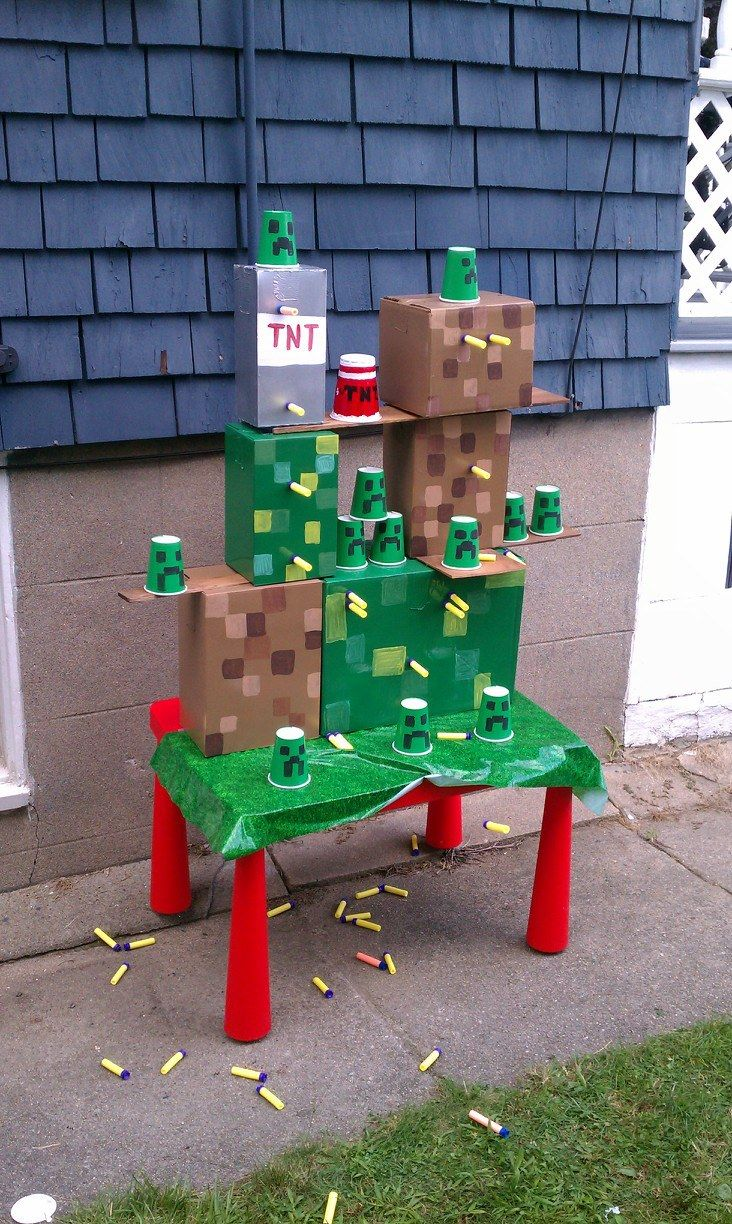 Minecraft shooting game made by my husband for our sons birthday