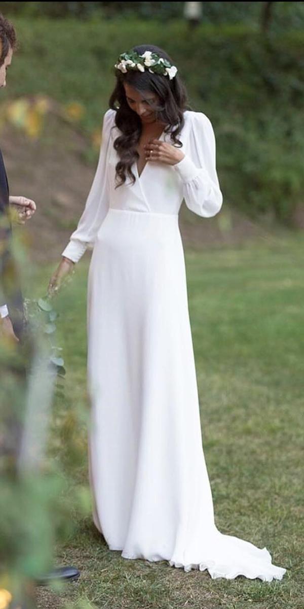 bescheidene Brautkleider einfach eine Linie mit langen Ärmeln Calista ein   – Wedding Dress Inspo ✶
