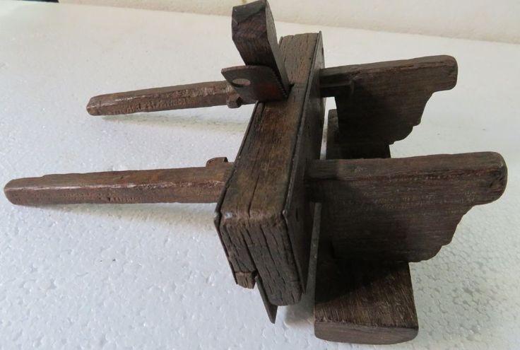 Antique wood working carpenter tool Plane primitive Manual adjustment India 1900