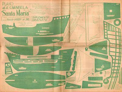 Brinquedos no Século XX: Plano de la Carabela Santa Maria