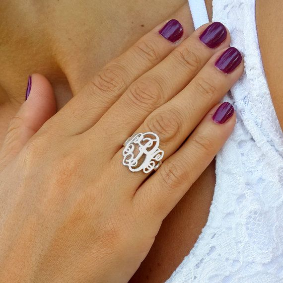 Sterling silver initial ring, Please note that this is solid 925 silver and not plating or low cost as other stores offers.  Customize your