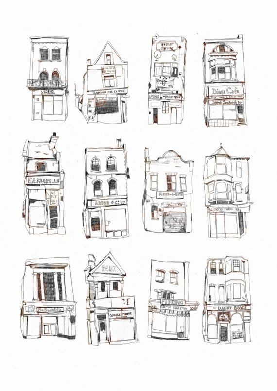 12 London Shopfronts  Large Print by melodyseal on Etsy, £25.00