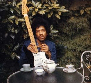 Probably the last photograph of Hendrix taken by Monika Dannemann at the Samarkand Hotel, September 17, 1970 - day before his death. The guitar he's holing is his favorite black strat. (Copyright owner: Monika Dannemann)