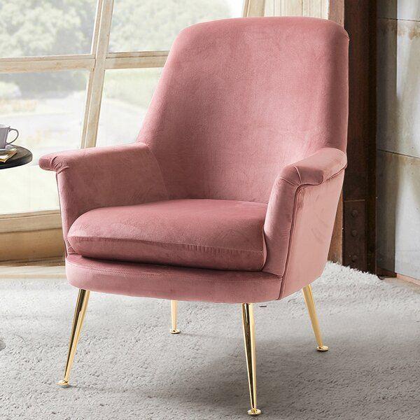 Garren Armchair In 2020 Armchair Pink Velvet Chair Pink Accent Chair