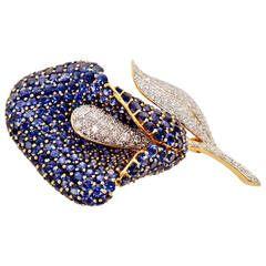 1990s Sapphire Diamond Gold Calla Lily Brooch