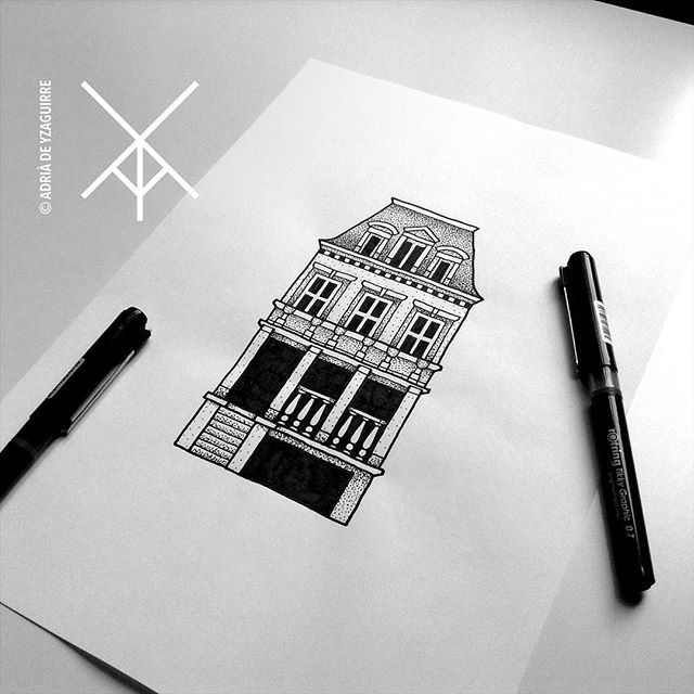 Working on Brittney's design. ••• #house #home #architecture #building #tattoo #newtattoo #blackworktattoo #dotworktattoo #minimaltattoo #contemporarytattoo #illustrationtattoo #tattooartist #illustrator #tattooflash #flashtattoo #flashworkers #tattsketches #berlin #berlintattoo