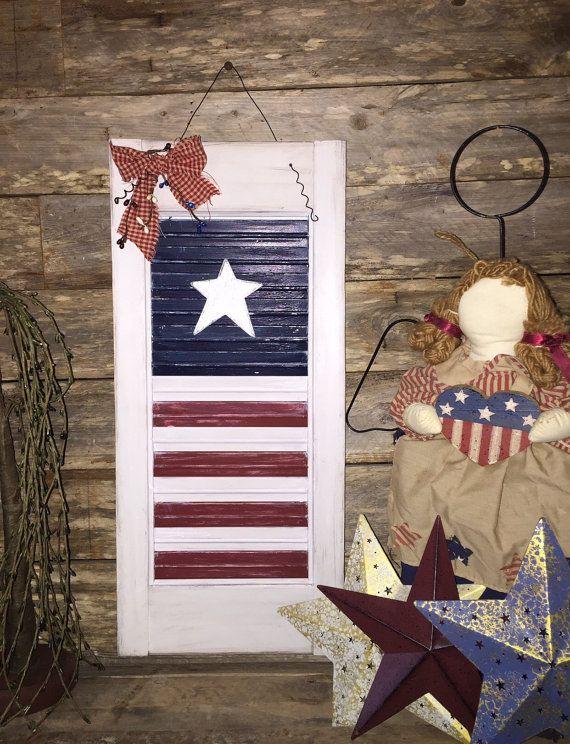 American flag country shutter decor