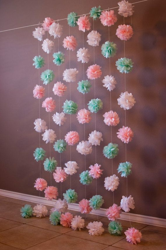 Tissue Paper Puff Garland Mint Pink and White. Pin found by Freebies-For-Baby.com