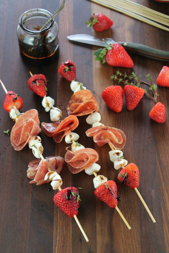 Strawberry Mozzarella Salami Skewers with Balsamic Glaze from Miss in the Kitchen