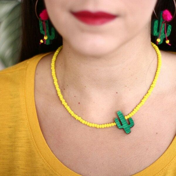 Double faced cactus upcycled wooden necklace