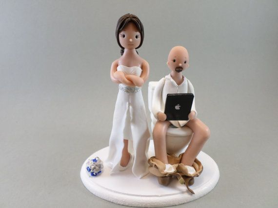 Mudcards Personalized Wedding Cake Topper Bride Groom On A Toilet Funny Wedding Cake Toppers Handmade Wedding Cake Toppers Personalized Wedding Cake Toppers