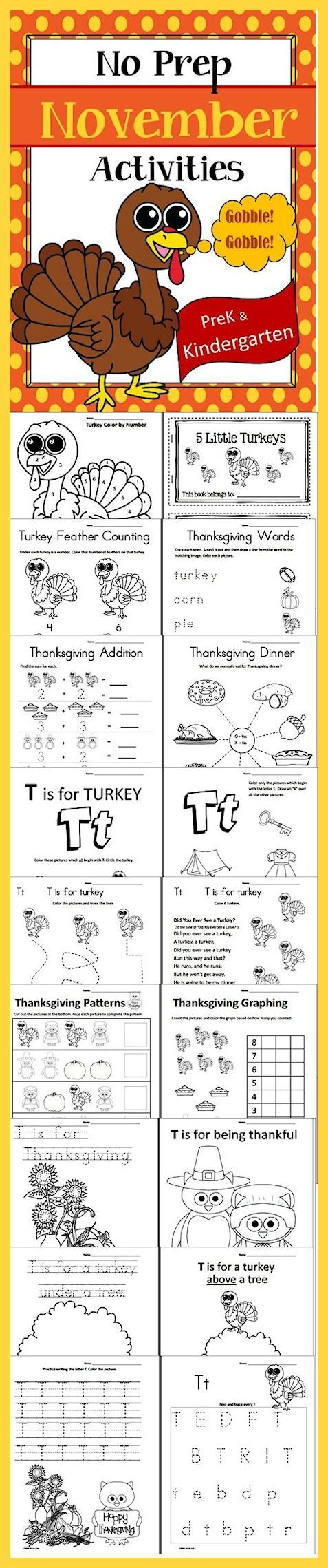 November - Thanksgiving Themed - No Prep - PreK through Kindergarten Worksheets. Skills & Activities included in this packet: Tracing, Printing, Cutting, Coloring, Gluing, Matching, Counting, Adding, Comparing, Patterning and more! Download Club subscribers can download @ http://www.christianhomeschoolhub.com/pt/Thanksgiving-Related-Resources/wiki.htm