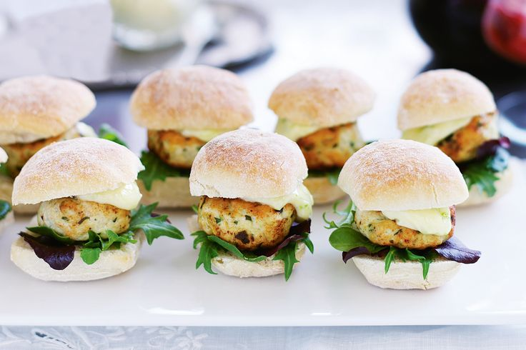 Mini ginger chicken burgers with lime mayo - Christmas party inspiration http://www.taste.com.au/recipes/21051/mini+ginger+chicken+burgers+with+lime+mayo