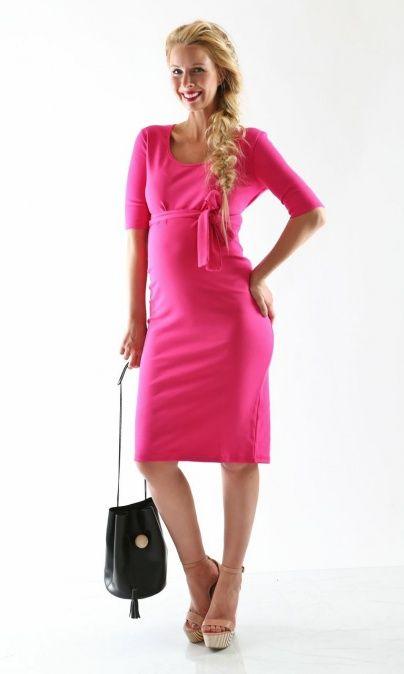 Madeline fushcia pink maternity dress