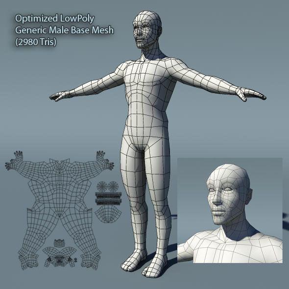 3DOcean Optimized Low Poly Male Human Base Mesh Version1.0 373215