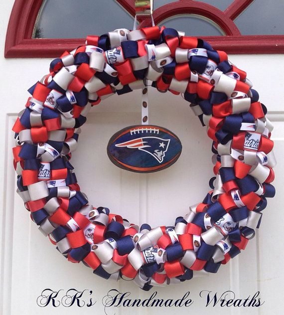 New England Patriots Ribbon Wreath by KKsHandmadeWreaths on Etsy, $40.00