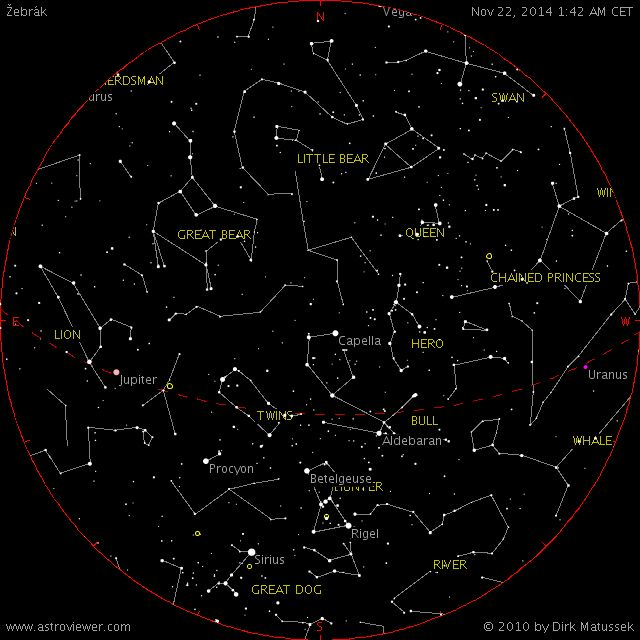 Aktualni obloha nad Žebrákem...na stránkách webu je Mini planetarium online...