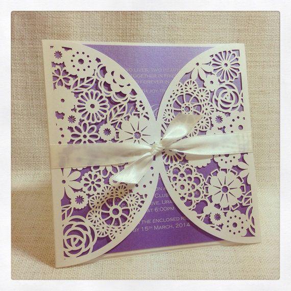 floral paper lace lavender wedding invitation laser cut invitation sample