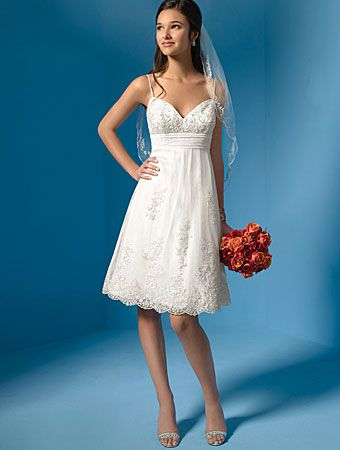 I love the short style with lace! So pretty. This website has several short wedding dress styles.
