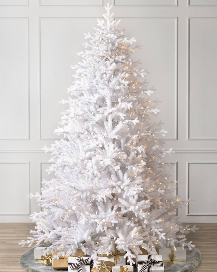 Denali White Christmas Tree-Main Image- 6.5', CLEAR LIGHTS, OR EASY PLUG LED