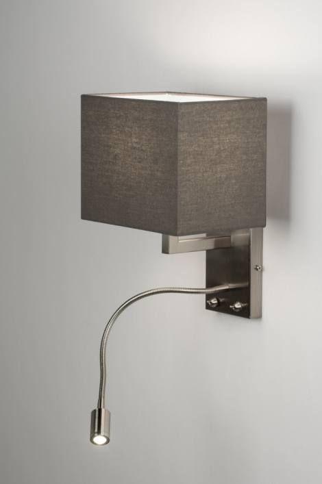 artikel 72046 Bijzonder praktische wandlamp met leeslamp!  Deze mooie, strakke wandlamp heeft twee lichtpunten.https://www.rietveldlicht.nl/artikel/wandlamp-72046-modern-metaal-staal_-_rvs-stof-grijs-vierkant