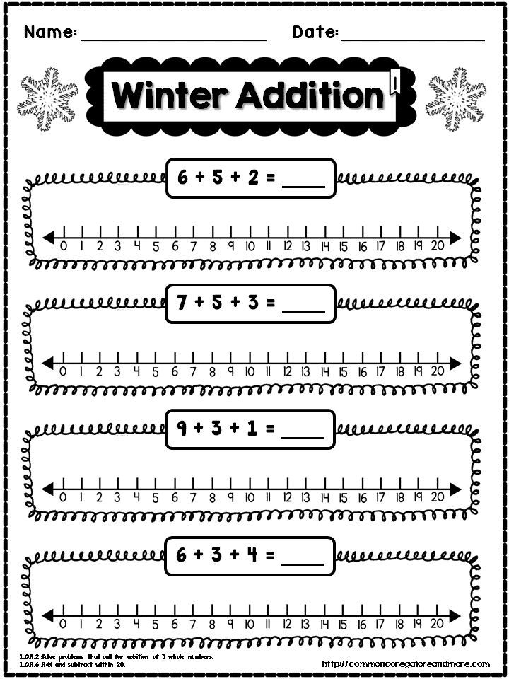**FREEBIE** Sample page from my 1st Grade Winter NO PREP Math Pack
