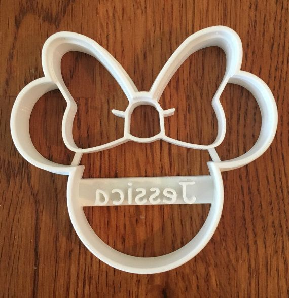 Minnie Mouse PERSONALIZED cookie and fondant cutter by ThreeDGeek