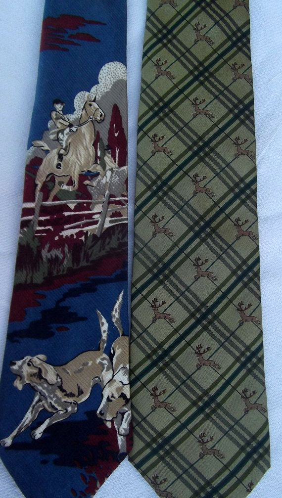 Lot of 2 vintage hunting  twill silk tie by CHEZELVIRE on Etsy, $10.00