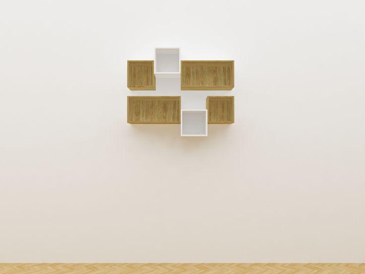 Minimalist modern furniture - Rak Gantung Untuk Ruang Tamu Terbuat Dari Kayu Berdesain Minimalis - White Elegant Teak