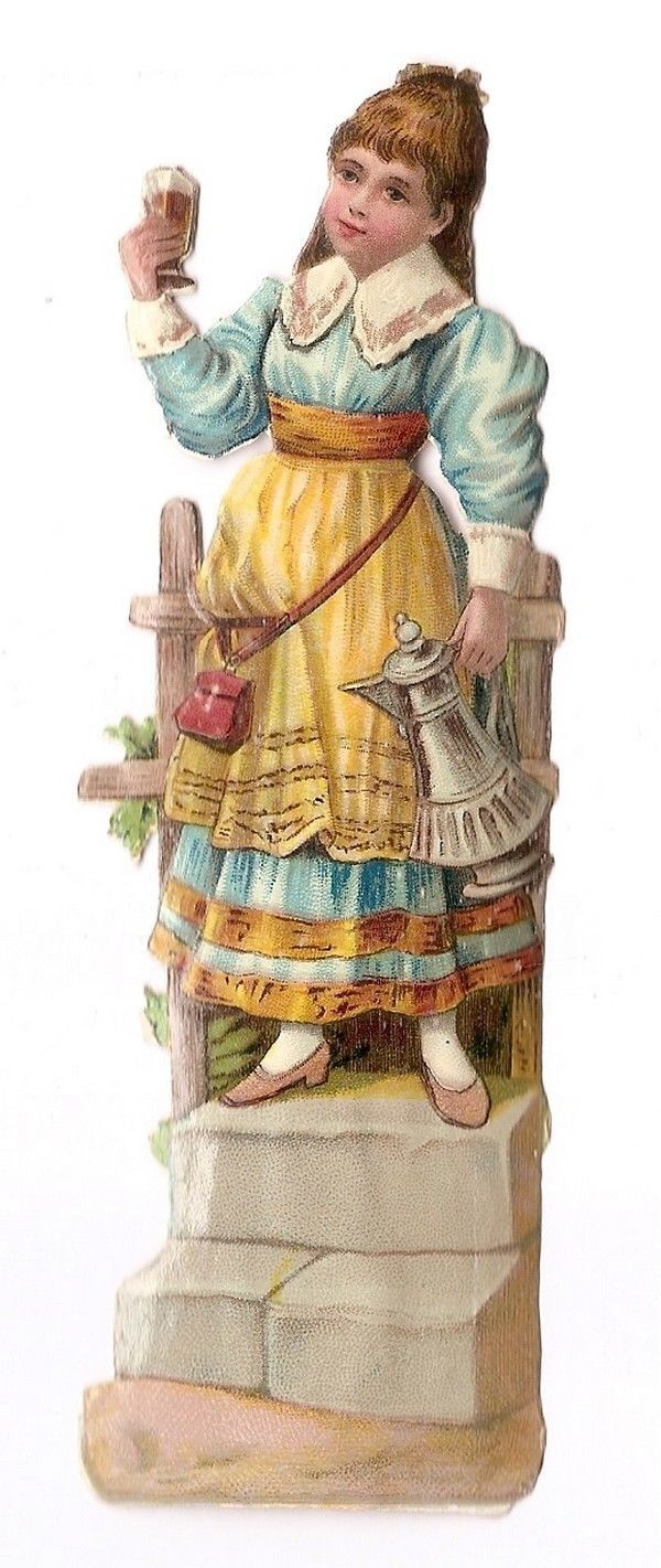 La serveuse - Tasse Pot Costume - - Chromo Decoupi  Victorian Scrap  Oblaten fr.picclick.com: